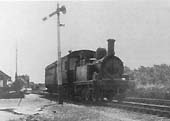 An unidentified Great Western �517� class 0-4-2T propels a auto trailer from Bearley into Alcester Station