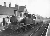 GWR Collett 48xx class 0-4-2T No 4814 with 70� diagram A29 auto trailer No 216 stands in Alcester down platform