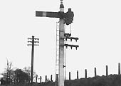 The Midland Railway Home Signal located opposite the end of the engine shed head shunt
