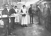 Medical and military personnel await the arrival of an ambulance train with wounded soldiers from France arriving in the UK for recuperation