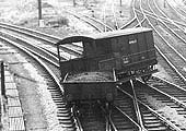 Close up of the derailed Toad brakevan, a 20ton brakevan from Pontypool Road, South wales in 1946