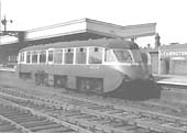 Ex-GWR Railcar No 14 having arrived from Stratford upon Avon stands at Leamington station's up platform in 1959