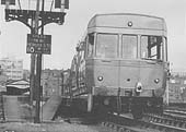 View of a three-car, four wheel ACV Lightweight Diesel Unit standing at Moor Street's Platform 1 with a local service