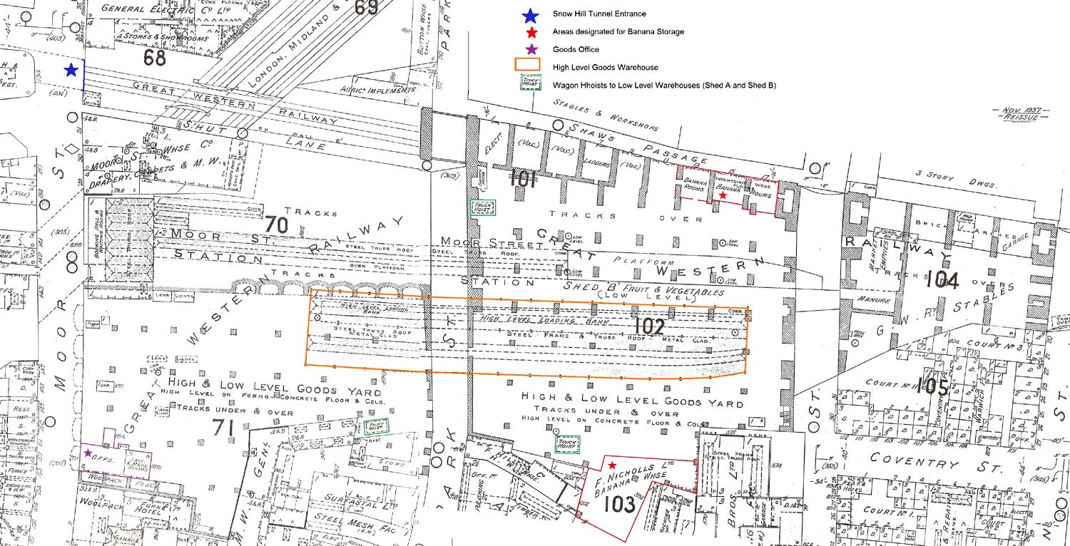 moor street station  fire insurance map showing the layout