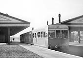 The experimental AEC Railcar stands at platform 3 having arrived on a local service from Snow Hill circa 1950