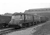 Ex-GWR Railcars No 13 and No 17 are seen in dirty condition alongside Tyseley shed in March 1960