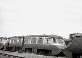 A later view of ex-GWR Railcar No 13 sandwiched between another member of the class and the express parcel Railcar in 1960