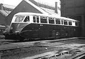 GWR Railcar No 4 is seen standing outside on one of the entrance roads of Tyseley shed in 1934