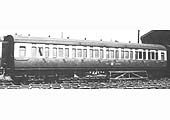 Fifty-six foot, eleven inch long 3rd class corridor toplight coach No 3892 in the final GWR livery in 1950
