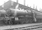 GWR 4-6-0 Hall class No 4999 'Gopsal Hall' is seen in steam standing on one of the roads that ran alongside Tyseley shed