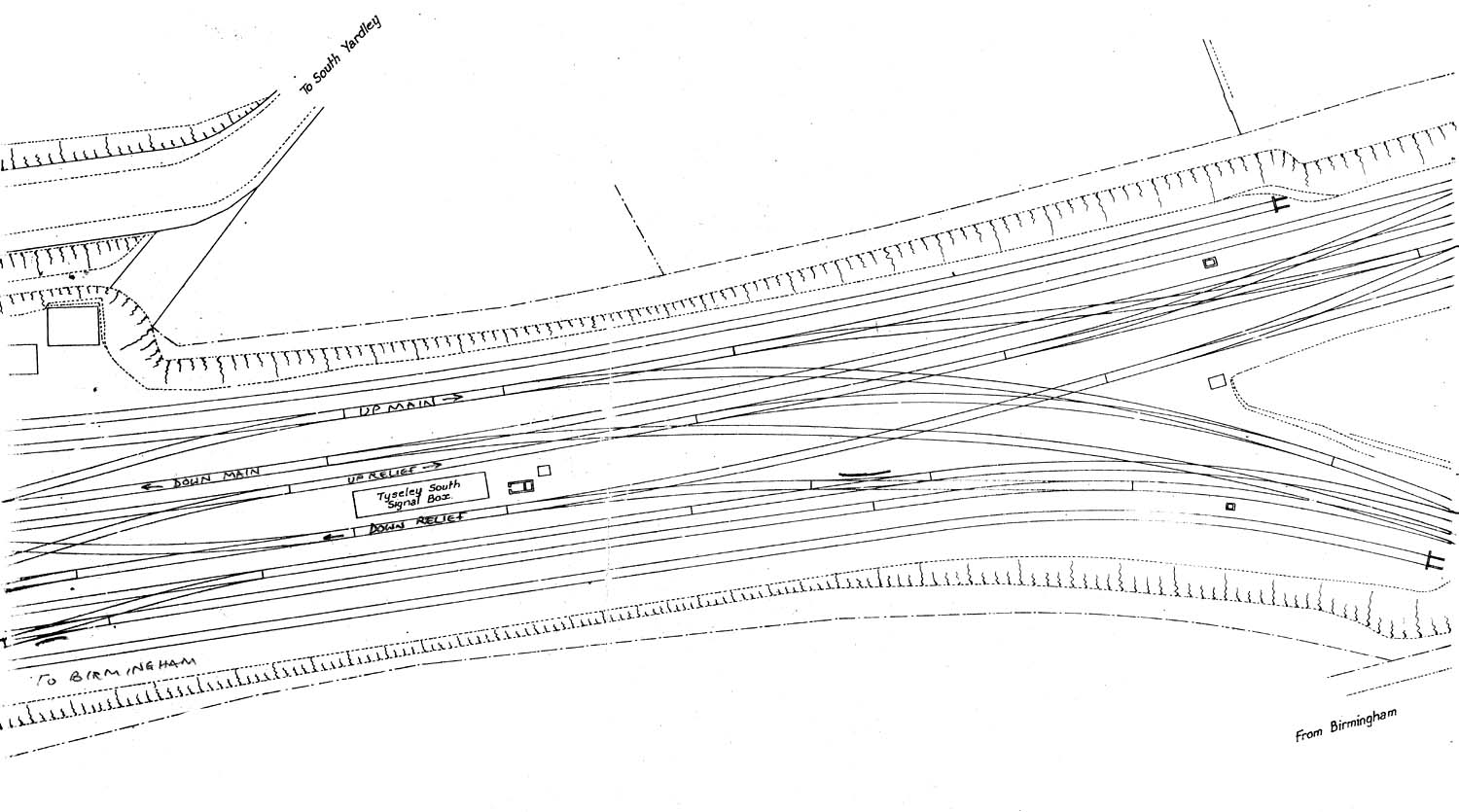 tyseley shed  plan of the track layout at the junction