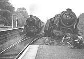 Another view of ex LMS 4-6-0 Royal Scott class No 46123 �Royal Irish Fusilier� at the end of Warwick's up platform