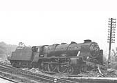 Ex-LMS 4-6-0 Royal Scott class No 46123 �Royal Irish Fusilier� at the end of the up platform after failing to stop