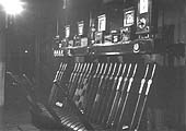 Night time view of Bordesley Junction Signal Box showing the various levers for the signals and junction points