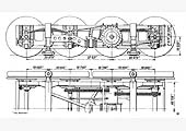 Plan and elevation of the power bogie fitted by Michelin to the Coventry Pneumatic Rail Cars