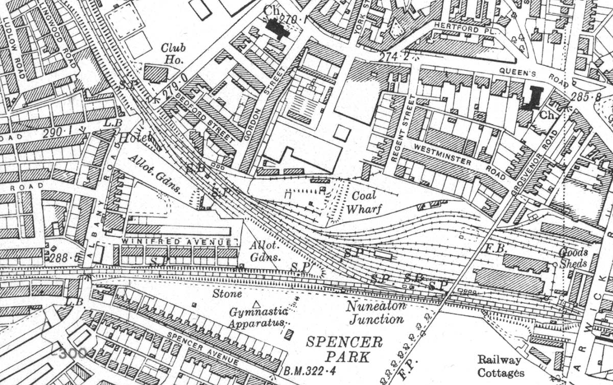 Coventry Station Ordnance Survey map revised in 1938 but published