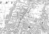 A 1915 Ordnance Survey map showing the line of Foleshill Railway and the various factories it served