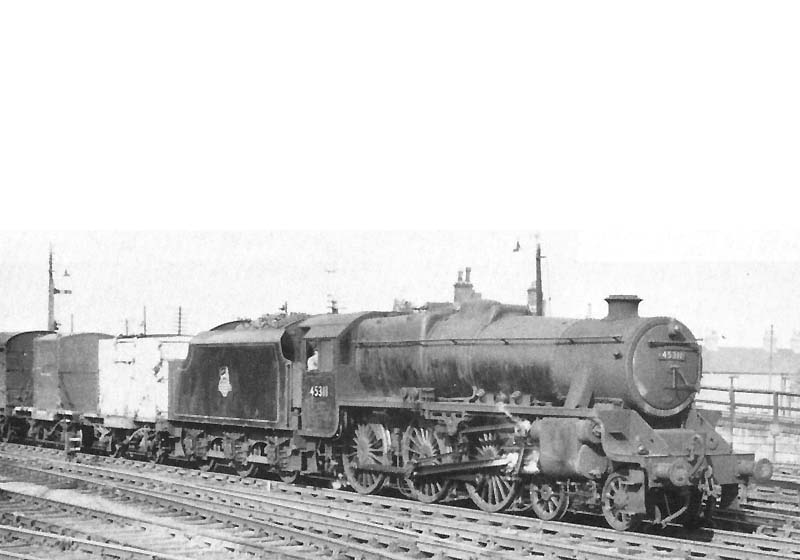 Nuneaton Station: Ex-LMS 4-6-0 'Black 5' No 45311 is seen at