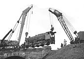 Third of five photographs showing the recovery of ex-LMS 8F 2-8-0 No 48262 at Spon End arches on 16th December 1962