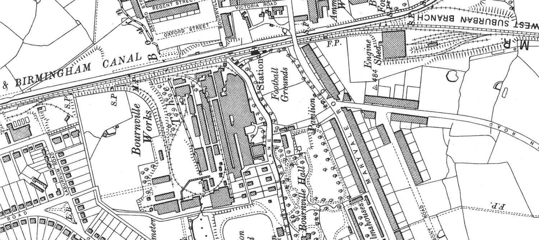 Bournville: Ordnance Survey Map of Bournville Station and ...