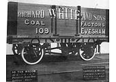 Richard White & Sons Coal Wagon No 109 built by the Gloucester RC&WCo in 1924 and painted Azure Blue with Whilte lettering
