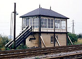 View of Kingsbury Branch Sidings Signal Box seen on 9th August 1969 shortly before its closure