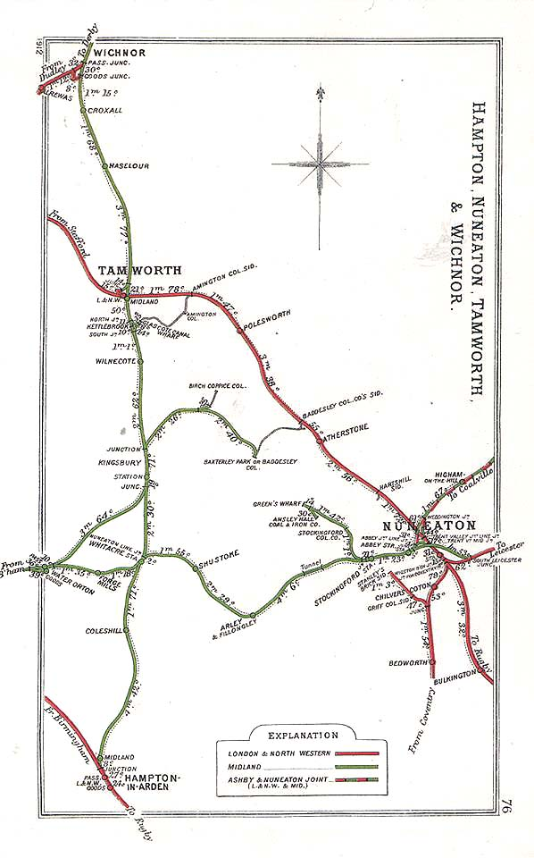 Nuneaton Abbey Street Station A Route Map showing the various lines