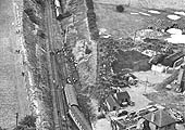 An aerial view of the railway accident at Cliff Sidings which saw ex-LMS 5XP 4-6-0 No 45699 'Galatea derailed on 16th August 1953