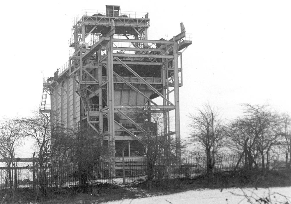 The remains of what was part of the coke plant within Coventry Gas works as seen during the winter of 1971