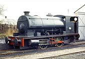 Peckett 0-4-0ST, Works No 2085, is seen standing in front of the locomotive shed on 8th April 1972