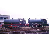 Army 98 ROYAL ENGINEER Hunslet 3798 of 1953 & 92 Hunslet 3792/53 WAGGONER adjacent to the Railway Control Office. These two steam locos were in steam for a special open day