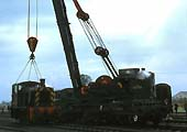 The breakdown crane demonstrated using a withdrawn BR diesel loco D2146 from Bird's scrap yard