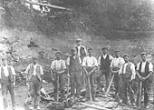 Workers in Wilmcote quarry circa 1900, the quarry at its peak produced in excess of 16,000 tons a year